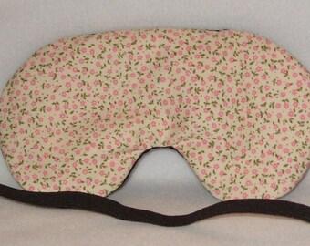 Handmade Tiny Pink Flowers Cream Cotton Sleep Eye Mask Blindfold Hen Blackout