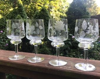 Set of Four Etched Vintage Goblets