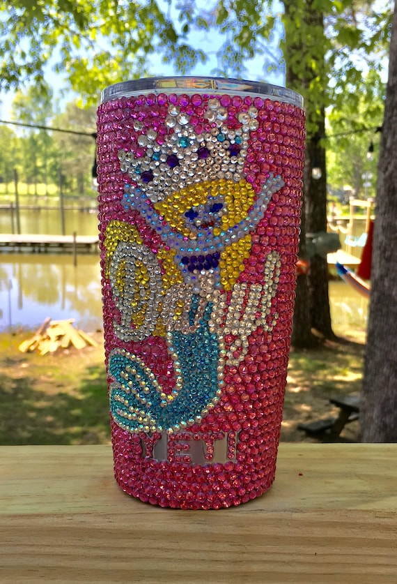 Rhinestone Yeti Rambler  Tumbler 20 oz with Personalization and Mermaid with Crown