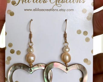 Mother of Pearl Hearts with Pearls