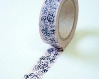 Washi Tape - 15mm - Black Floral Outline on Soft Pink - Deco Paper Tape No. 71