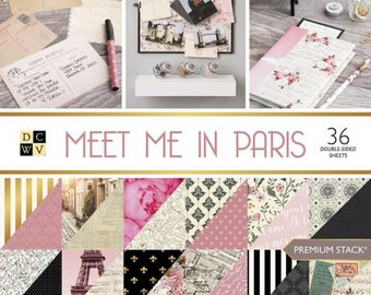 Paper Pad Meet Me In Paris by DCWV Paper Stack 12 x 12 - 36 Double Sided Beatiful sheets
