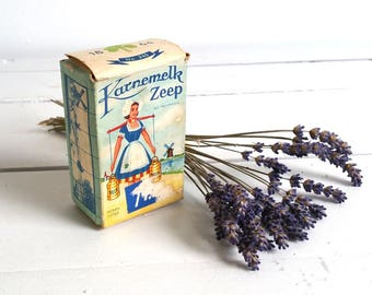 Dutch old packing buttermilk soap 'Melkmeisje' * vintage soap box * old packaging * farm home decoration * Dutch history