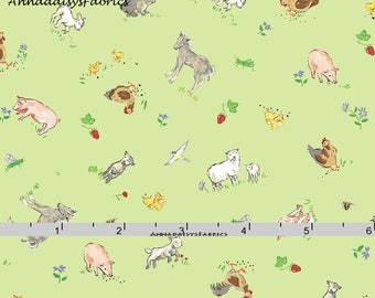 Green Farm Animal Fabric,  Farm Quilt Fabric, Red Rooster Fabrics Country Days 26619, Heidi Boyd, Pigs, Sheep, Horses, Rabbit, Goat, Cotton