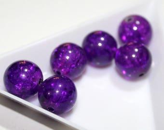 x 10 beads 12 mm - purple Mauve - cracked - glass