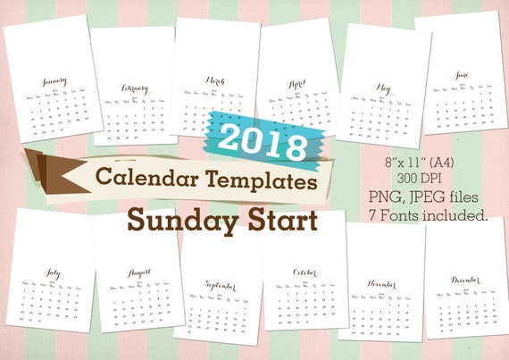2018 Calendars Templates SUNDAY START Commercial use Printable