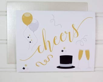 New Year's Card, Happy New Year, Cheers Greeting Card, for Champagne Lover, New Years Celebration, 2019, Champagne Drinker, for Boyfriend