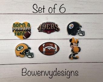 Set of 6 football, Flatback planar resins, scrapbooking embellishments, DIY hairbows or crafts