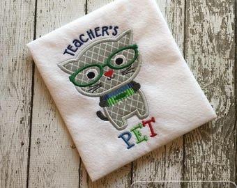 Teacher's Pet Cat appliqué embroidery design - cat appliqué design - teacher appliqué design - school appliqué - teacher's pet appliqué