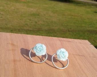 Light blue flower studs