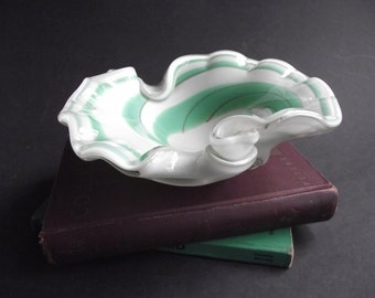Vintage Murano Glass Ashtray Dish Aqua Green Swirl Encased Art Glass - 3 Pound Estate Find
