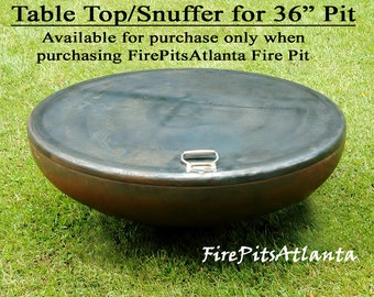 "Steel Table Top for 36"" Firepit - Shipped with fire pit only fire pit cover fire pit table fire pit fire pits fire bowl snuffer top"