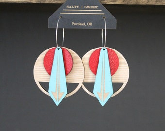 Laser cut earring | ARROW: Red