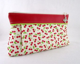 Makeup, purse Tote while cherry and red faux leather fabric