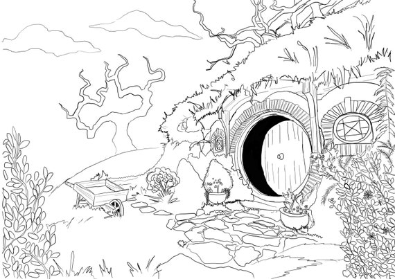 Adult Coloring Page Hobbit House from Lord of the Rings