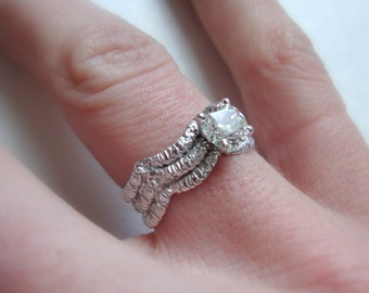 Wave Lace diamond solitaire engagement ring in 14k white gold with Canadian diamond
