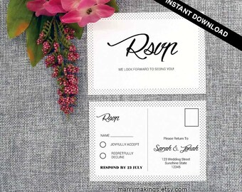 Wedding RSVP Postcard Template, Printable Wedding, Editable RSVP Template, Wedding Template, Instant Download, DIY Wedding Rsvp Card, 09