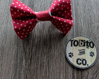 Red dots// dog bow tie// made to order