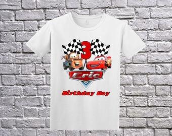 Cars Birthday Shirt, Cars Name Age, Custom Cars Shirt, Personalized Cars Apparel, Cars Birthday Party, Lightning McQueen Tee