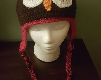 Crochet owl hat, brown and pink for an adult