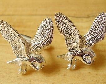 Owl Sterling Silver Cufflinks In Presentation Box