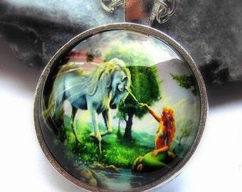 Necklace Unicorn necklace Unicorn and Mermaid cabochon necklace