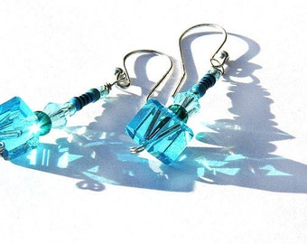 Statement Jewelry Ideas Wearable Tech Mini RESISTOR Technology Earrings Aqua Blue Crystal Cube Recycled Electronic Parts Eco Friendly.