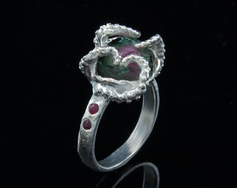 Sale - Ready to ship! Octopus ring, octopus tentacle, tentacle ring, size 7- Watermelon Tourmaline One of a Kind, Size 7.