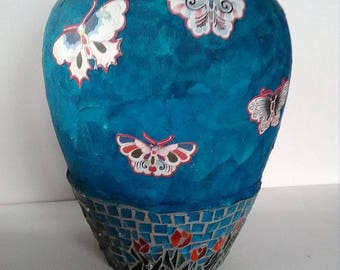 Mosaic vase stained glass mosaic decoupage blue red yellow gift housewarming thank you hostess SALE