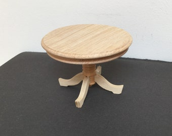 Dollhouse miniature round dining table unfinished wood 1:12 scale