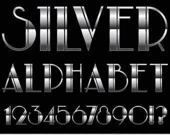 Silver Alphabet Clipart Metal Alphabet Clip Art Wedding Alphabet Clipart Art Deco Clipart Vintage Retro Invitations Scrapbooking Typography