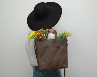 Leather tote bag, medium size ,brown squirrel disstresed  color