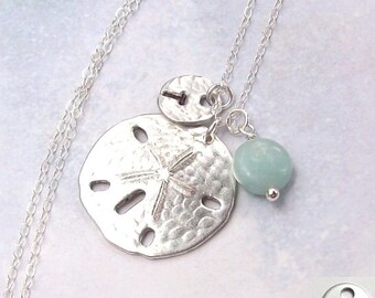 Sand Dollar Necklace, Amazonite Blue Necklace, Personalized  Necklace, Tropical Necklace, sterling silver, initial, stamped