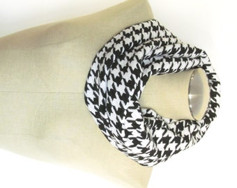Black and White Houndstooth Scarf - Black Wool Scarf - Black Infinity Scarf