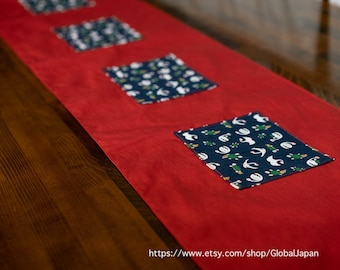 Handmade Table runner, Red, navy blue ,cranes and turtles pattern, 30cm x 228 cm, 11.8 in x 89.8 in,