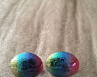 Vintage Silvertone Rainbow and Floral Design Earrings, 7/8'' High, 3/4'' Wide