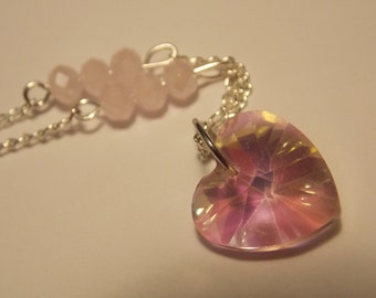 Crystal Heart Necklace- Pink