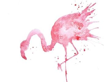 Watercolor Painting, Watercolor Flamingo Painting, ACEO Print, Animal Painting, Mini Art Print, Small Animal Watercolor Print ACEO Painting