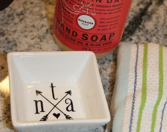 Personalized Square Ring Dish, Trinket Tray, Ring Catcher, Monogrammed Trinket Holder, Trinket Dish