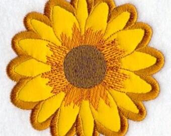 Sunflower FLEECE APPLIQUE Embroidered Flour Sack Hand/Dish Towel