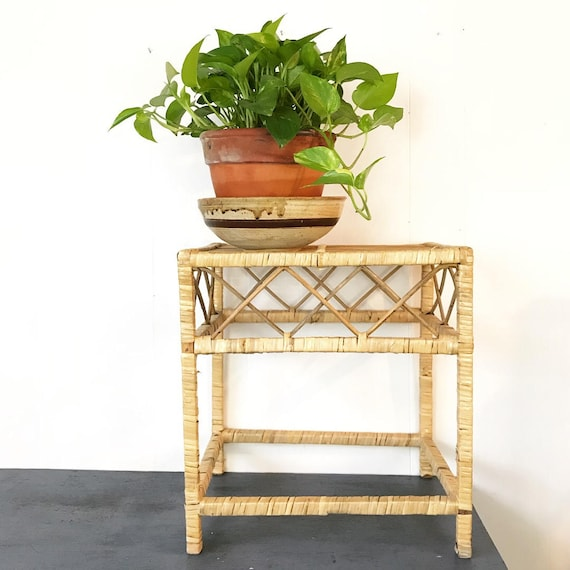 wicker end table - rattan wrapped side table - coffee table - plant stand - bamboo accent table - boho tiki style
