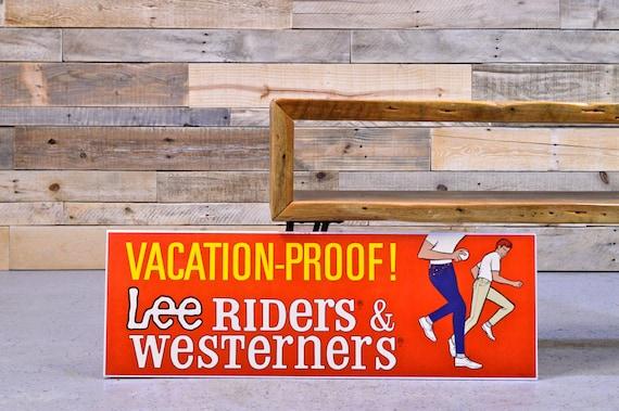 Lee Jeans Advertising Sign, Lee Riders and Westerners, 1950s Denim Advertising