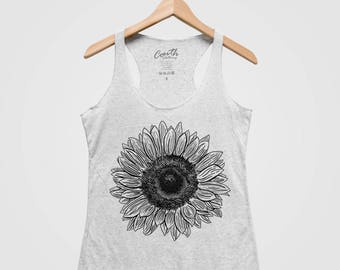 Low Cost Printed Racerback Top - SUNFLOWER Free Shipping High Quality 5RB5W