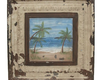 Vintage tin panel with hand painted beach scene