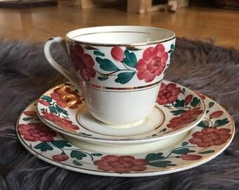 Burgundy Floral Teacups