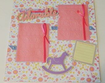 12x12 Premade Baby Girl Scrapbook Layout- Adorable
