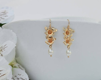 SALE - Gold Orchid Bridal Earrings, White Teardrop Pearls Earrings, Gold Wedding Earrings, Bridesmaid Earrings, Bridesmaid Gift