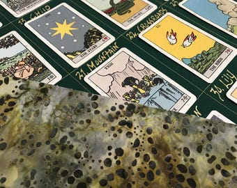 8x4+4 Lenormand and Tarot Reading Cloth, SPECKLED COSMOS, Grand Tableau Spread Cloth w/houses