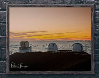 Mauna Kea Observatory at Sunset: Big Island, Hawaii Photo Print
