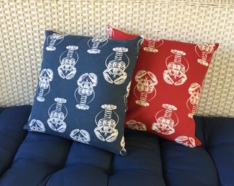 Red and Blue Lobster Pillow Covers from Maine